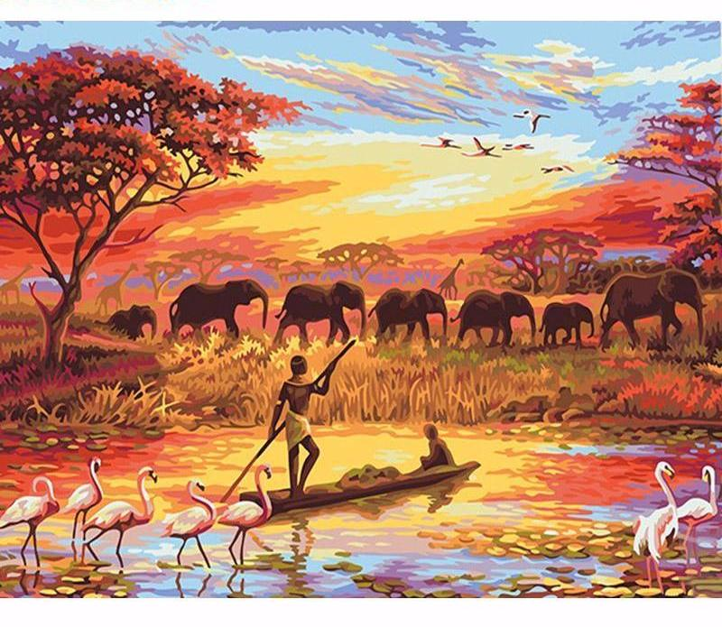 Elephant Sunset VanGo™ Paint-By-Number Kit