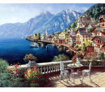 Lakeside Village Landscape VanGo™ Paint-By-Number Kit