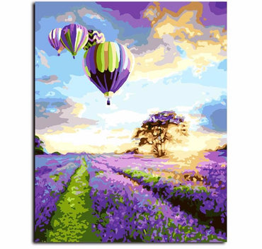 Hot Air Balloon Lavender Field VanGo™ Paint-By-Number Kit
