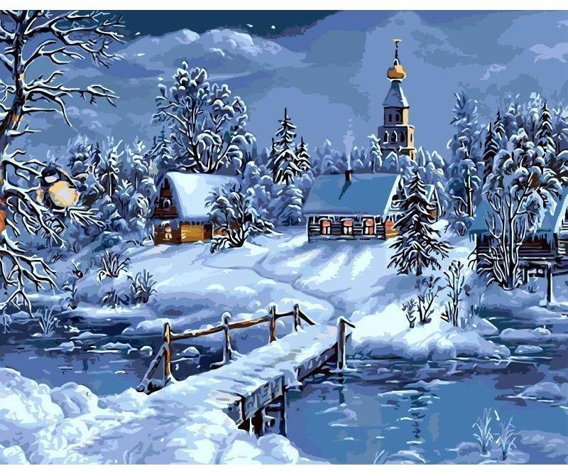 Christmas Snow Landscape VanGo™ Paint-By-Number Kit