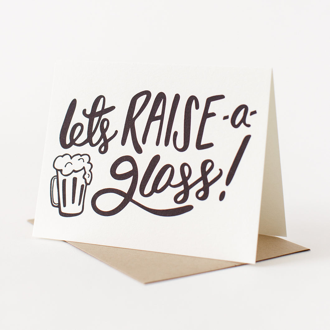 Let's Raise a Glass! Letterpress Card