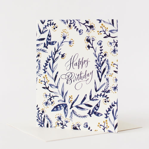 Happy Birthday - Blue Floral