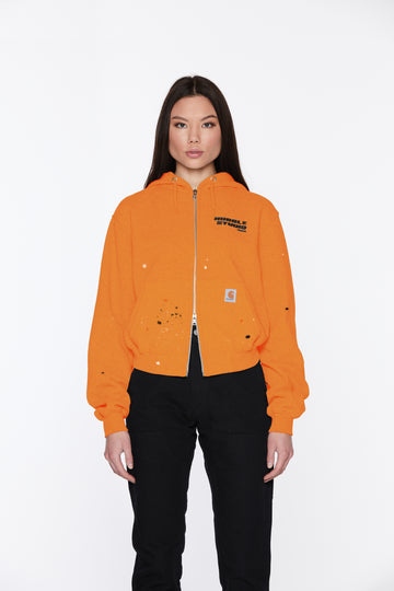 Orange Femme Hooded Cropped Jacket