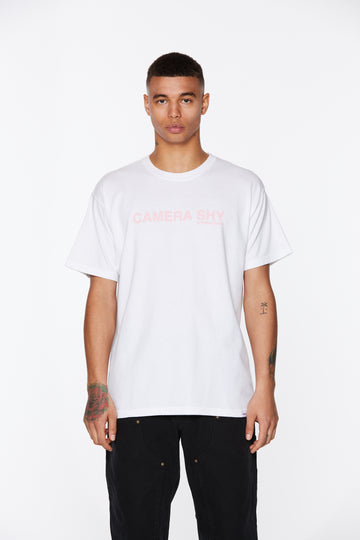 White Camera Shy Cancer Awareness T-Shirt