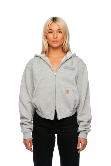 Gray Femme Hooded Cropped Jacket