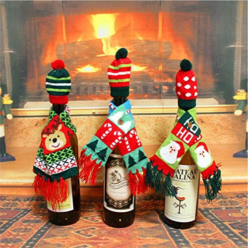 2 pcs/set  Scarf & Hat Knitted Wine Bottle Decoration