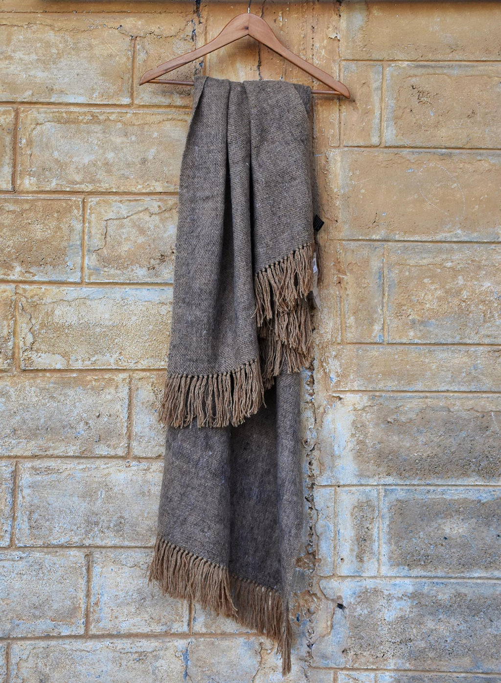 Grey and beige Sheep Wool Throw