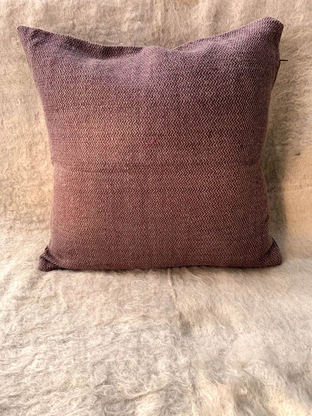 Violet Sheep Wool Cushion Cover