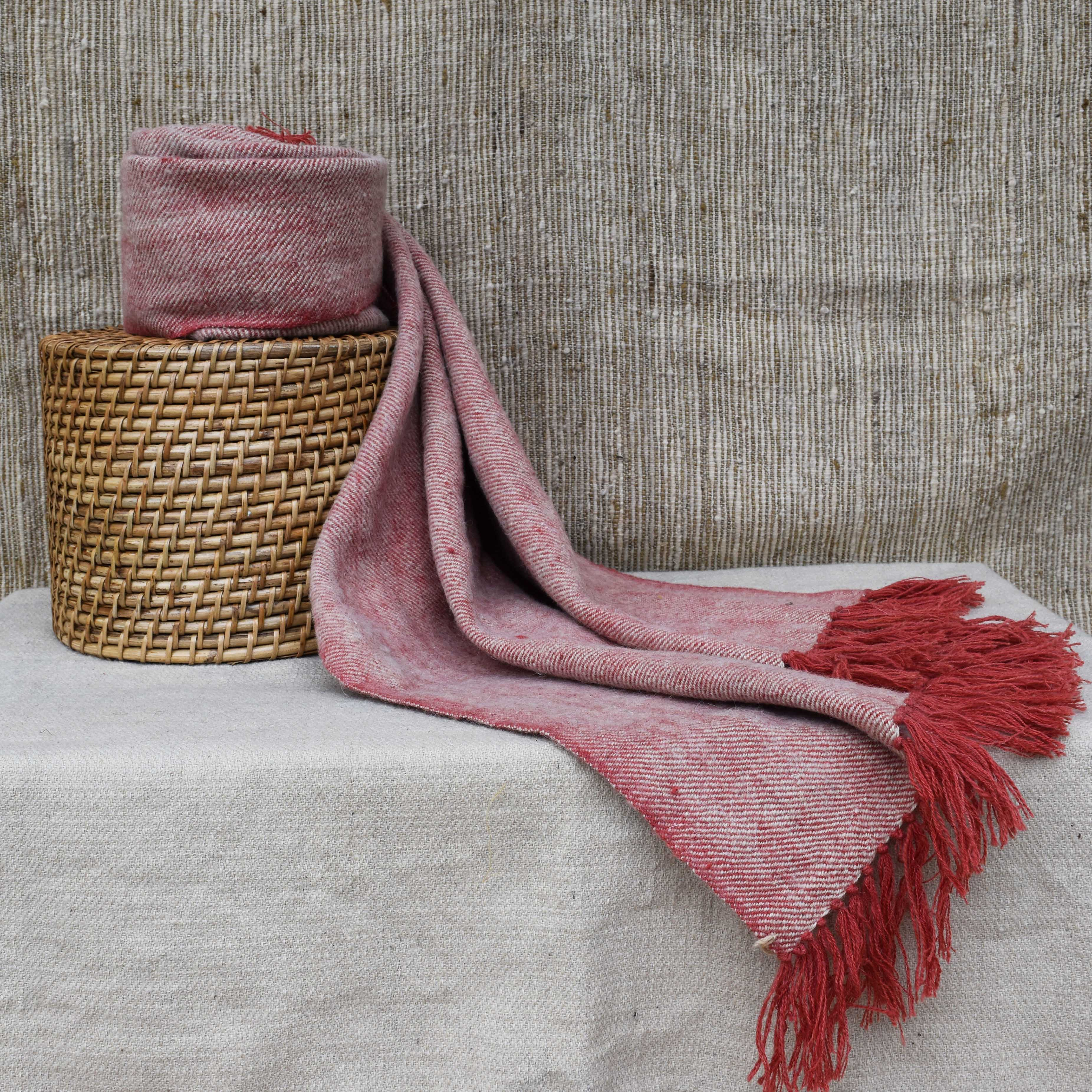 Pink and Off-white Sheep Wool Throw