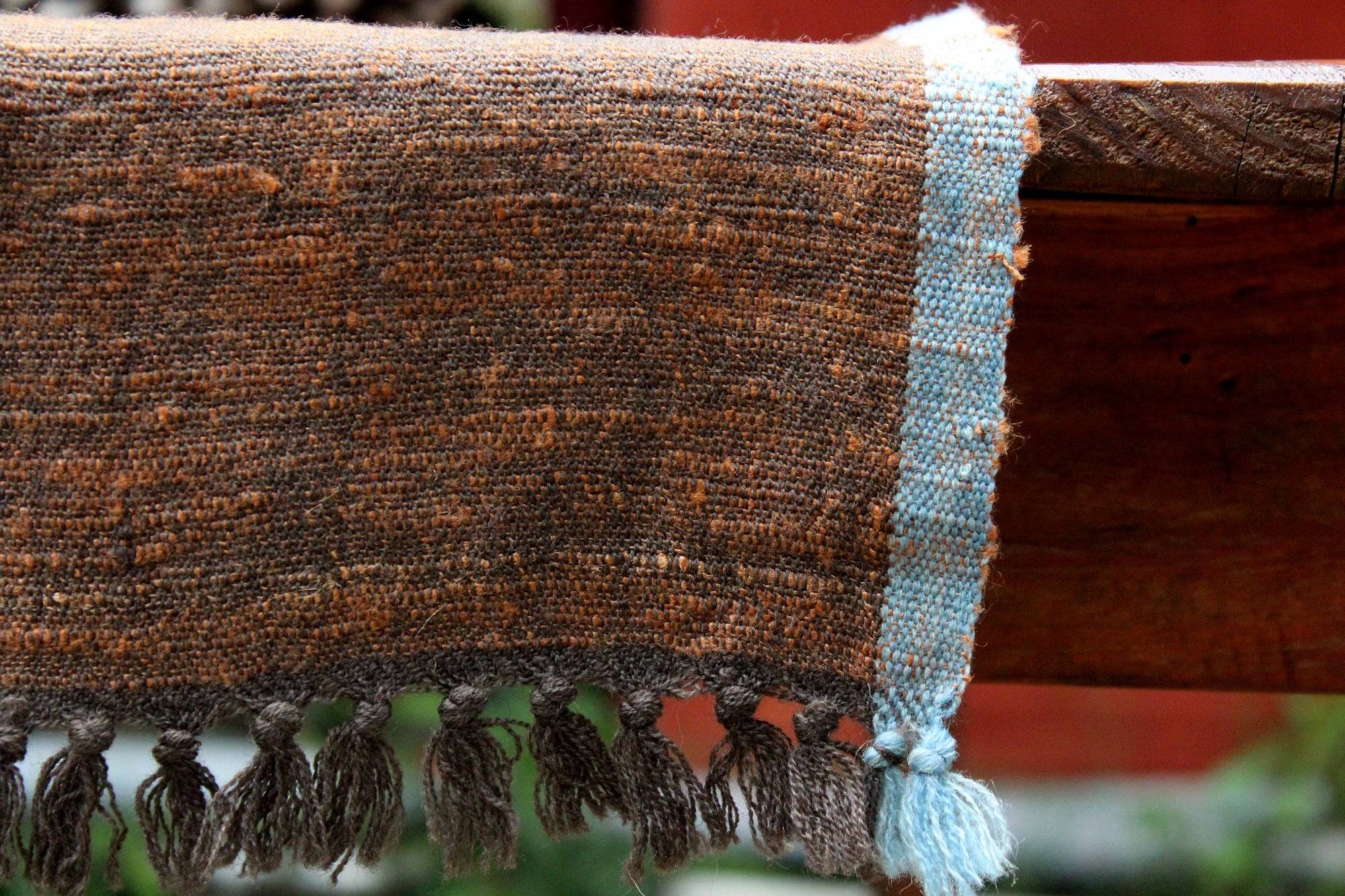 Table runner - Rusty Brown with Blue border