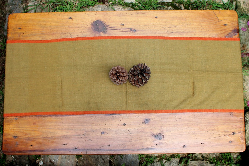 Table Runners - Murky green with Orange border