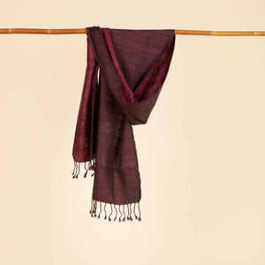 Reversible maroon and black Silk Wool Scarf SF000030
