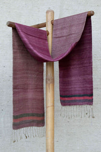 Dark Pink Scarf with Striped border