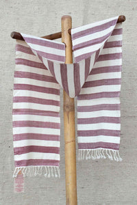 Burgundy and Cream Striped Scarf