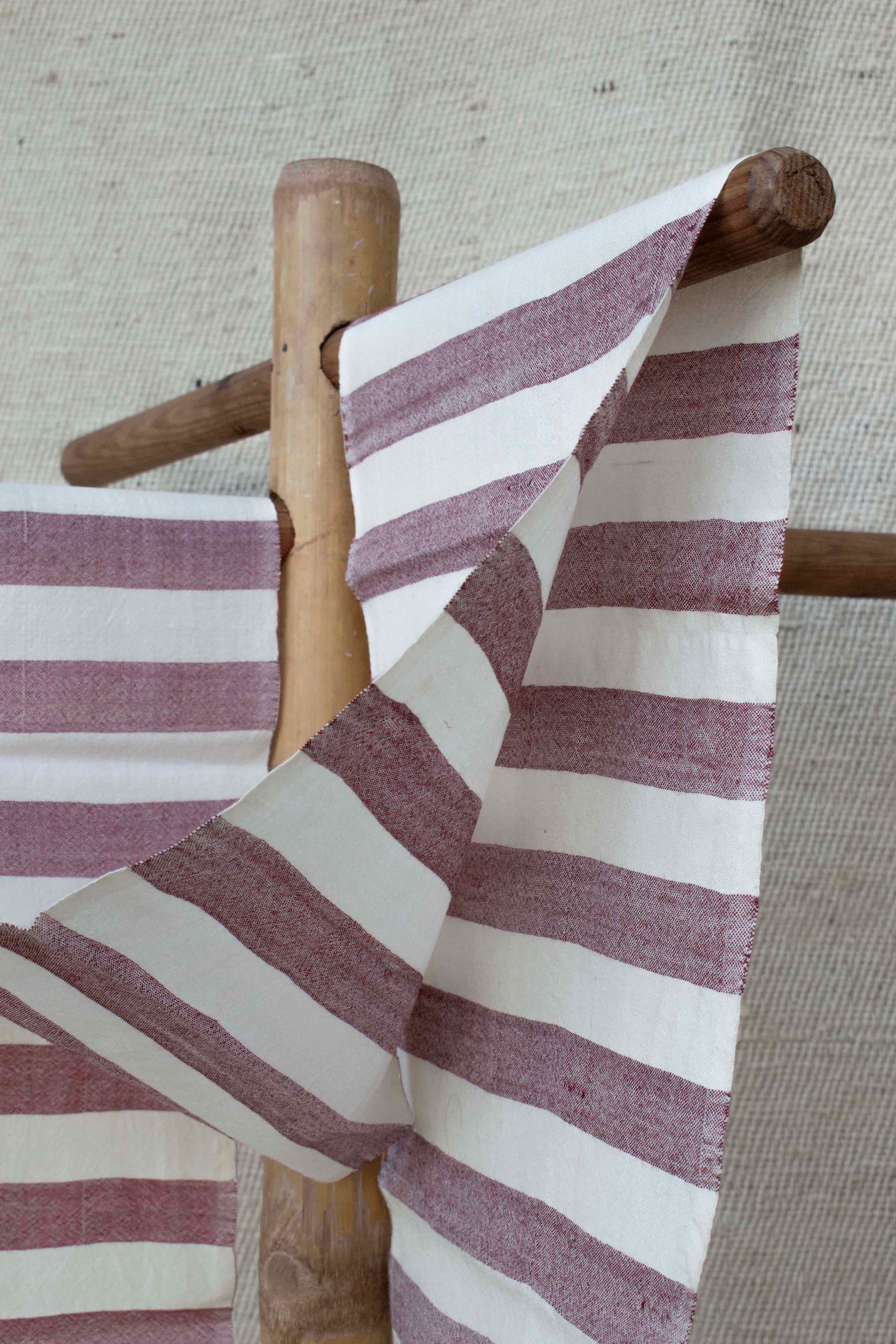 Burgundy and Cream Striped Scarf SF010061
