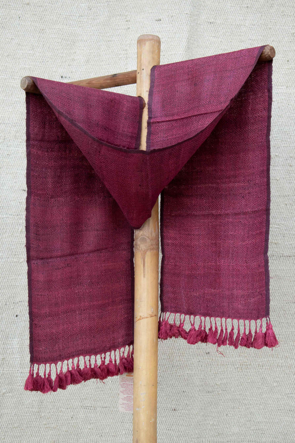 Dark Pink Scarf with Purple Tassels