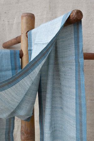 Pure Silk Sky Blue Stole with Blue and Grey Stripes ST004487B