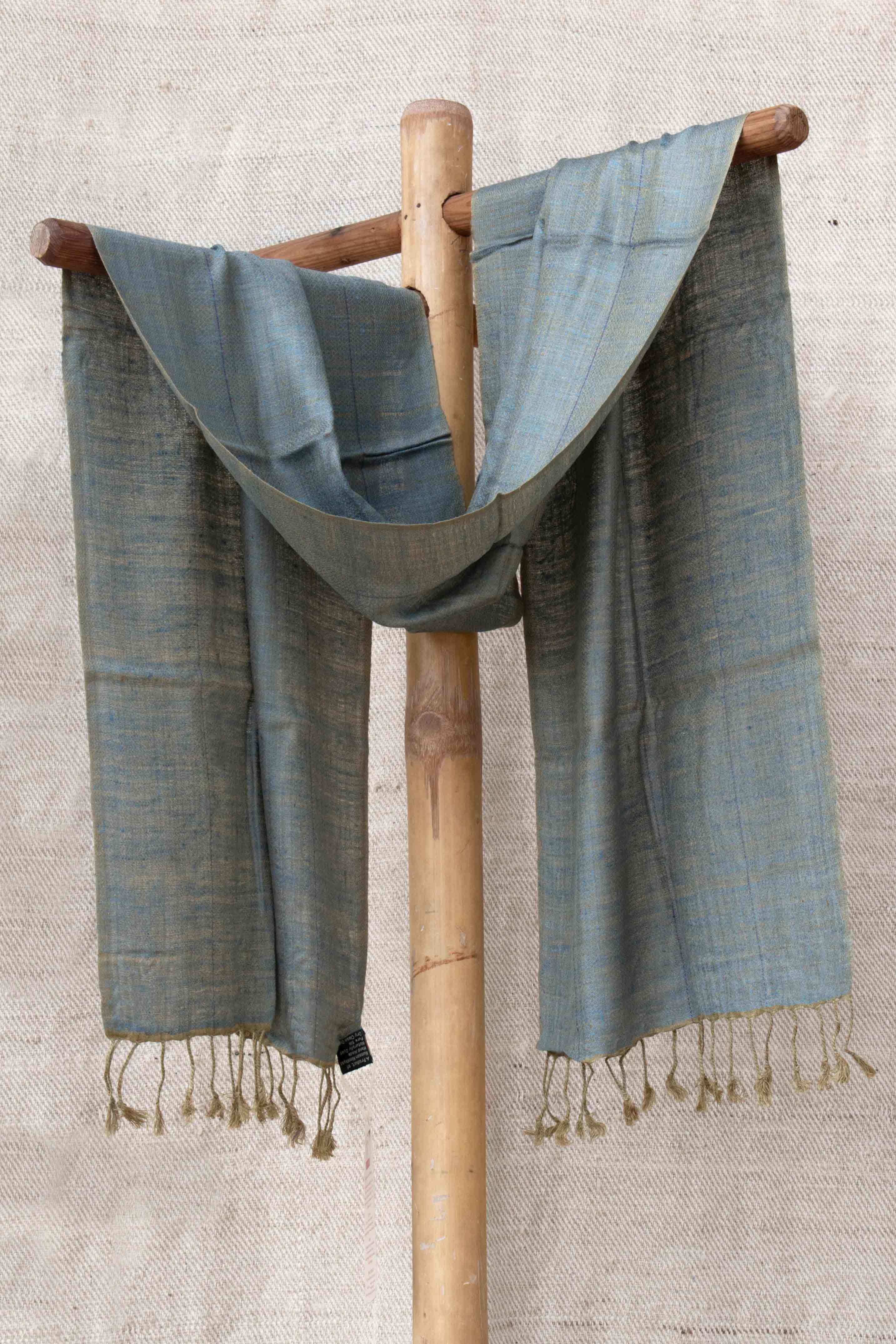 Pure Silk Indigo and Olive Green Stole ST004817B