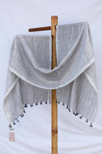 White and grey striped stole ST033070A