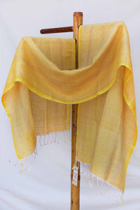 Yellow and light pink herringbone weave stole ST033114A