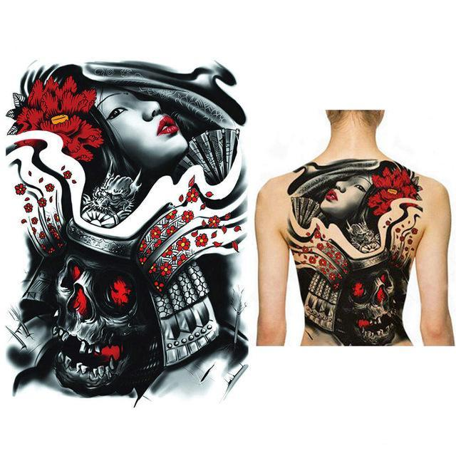 Japanese samurai of death full back chest temporary tattoo sticker