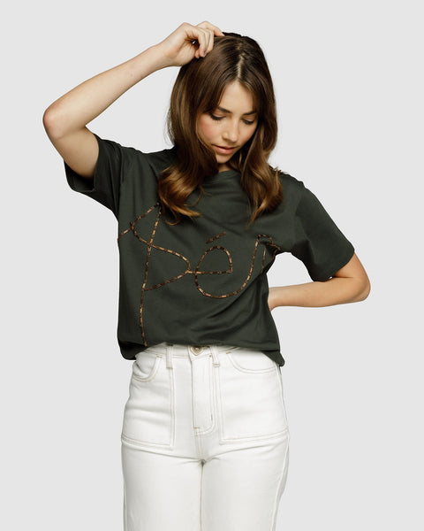 Apero - Creation Mixed Bead Tee (Forest Green/Bronze)