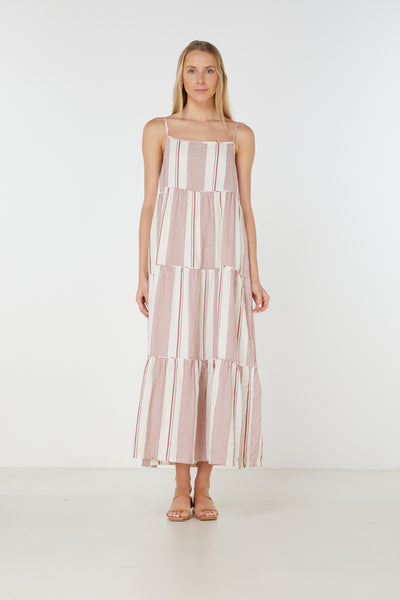Elka Collective - Adele Maxi Dress (Rust Stripe)