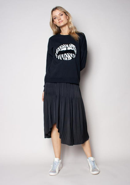 We are the Others - Slouchy Sweat (Black w/ Zebra Sequin Lips)