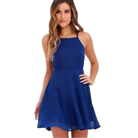 Backless Bandage Dress Women - Blue / L