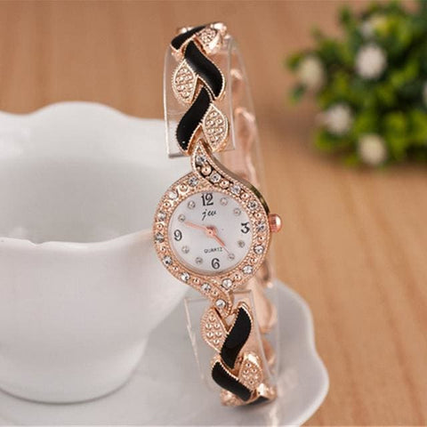 Luxury Crystal Wristwatch - Black