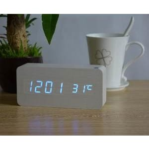 Wooden Led Alarm Clock - White Blue