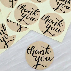 Kraft Circle Thank You Stickers (3.8cm)