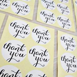 White Thank You Stickers (3.8cm)