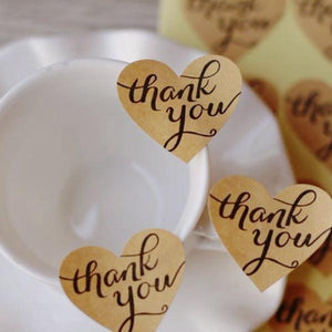 Kraft Heart Thank You Stickers (3.3cmx2.9cm)