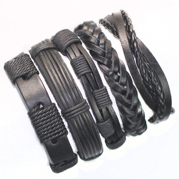 FL24-5pcs Black Leather Wristband - Trendy Him