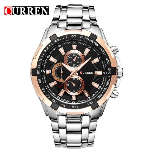 Luxury Black Curren full steel quartz Men Watch - Trendy Him