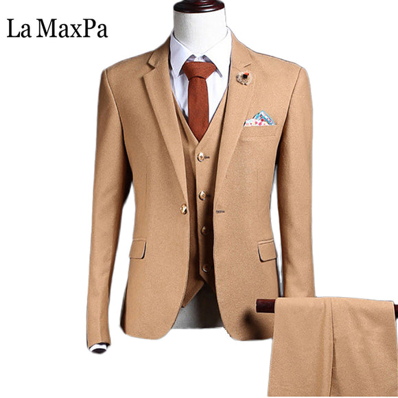 La MaxPa (jacket+pants+vest) Fashion brand mens suit - Trendy Him