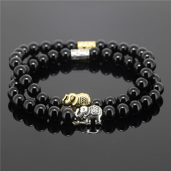 2pcs 6mm Black  Natural Stone Men's Bracelets - Trendy Him