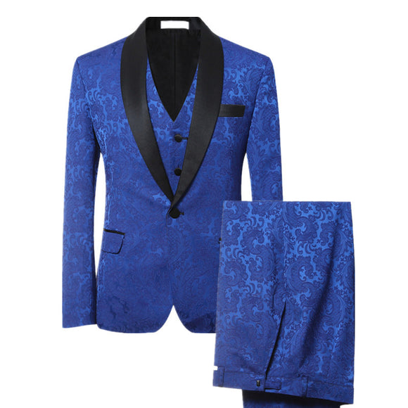 3 Pieces Luxury Blue Jacquard Tuxedo Party suit - Trendy Him