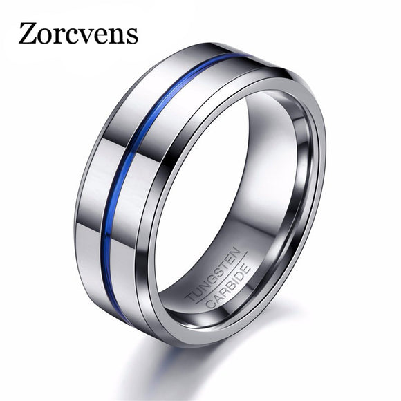 ZORCVENS  Fashion Thin Blue Line Tungsten Men's Ring - Trendy Him