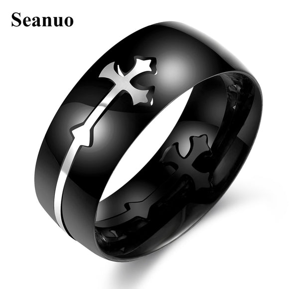 Seanuo 8MM Black Stainless Sideways cross men's Ring - Trendy Him