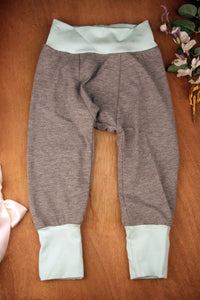 Yoga Pants - Grey with Mint