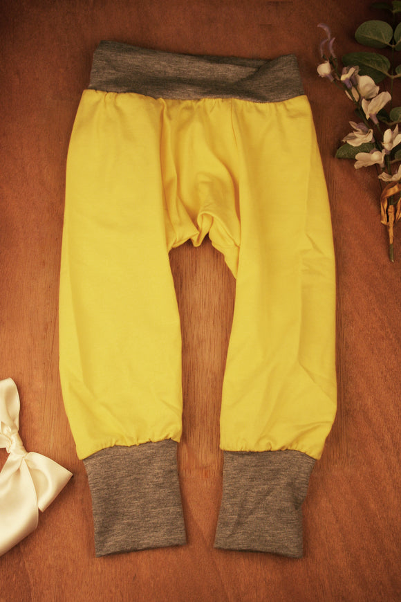 Yoga Pants - Yellow with Grey