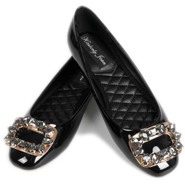 Bejewelled Flats in Black