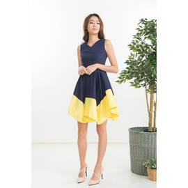 Iseo Asymmetrical Dress in Navy Blue