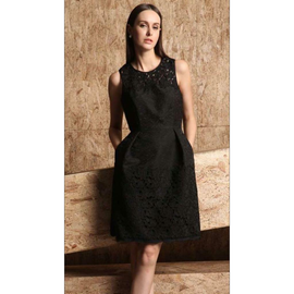 Black embroidery Embossed Flare dress