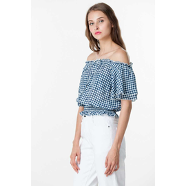 SENA GINGHAM TOP IN BLUE