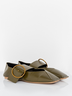 ANDERSON BUCKLE SLIP ON MULES - OLIVE [STUDIO]