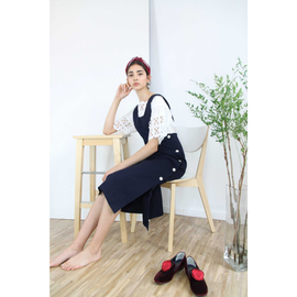 Side Buttons Pinafore Dress