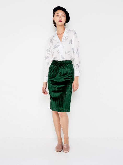 ABNER PLEATED SKIRT - GREEN [QUEENDOM]